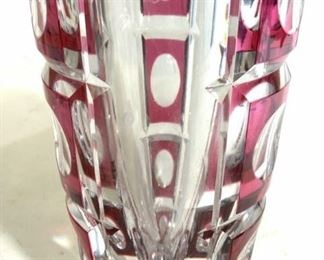 VAL ST LAMBERT Thick Wall Cranberry Art Glass Vase