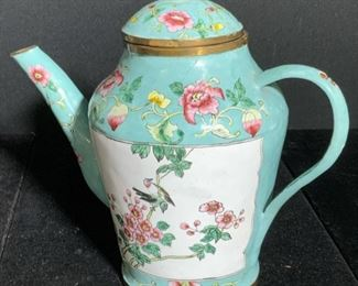 Signed Chinese Hand Painted Brass Teapot