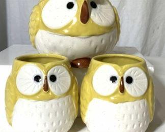 Set 3 KOTOBUKI Owl Tea Set Stoneware, Japan