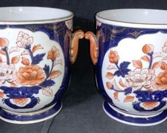 Pair Lord & Taylor Porcelain Amari Planters, Japan