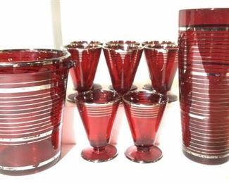 Retro Barware Set 10 Ruby Red Glassware