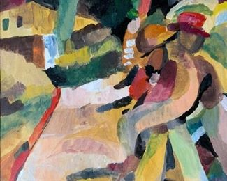 Signed Gouache Painting Attributed to YUN GEE