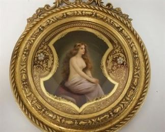 1001	SIGNED HAND PAINTED PARTIAL NUDE DRESDAN PLATE IN AN ORNATE GILT FRAME. 9 IN DIAMETER