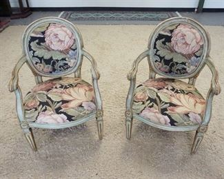 1007	2 ARM CHAIRS W/PAINT DECORATED FRAMES & NEEDLEPOINT FLORAL UPHOLSTERY