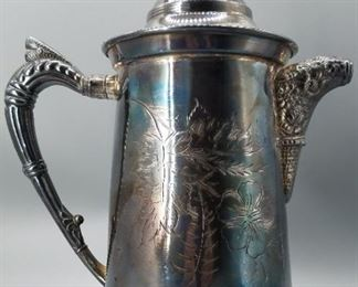Victorian Silverplate Covered Water Pitcher