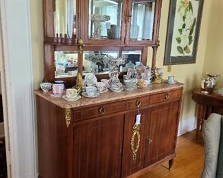 "6.) Marble top Server with rouge marble and beveled back mirrors and the vitrine upper case. Circa 1900 Belgium 58""w  x  77""h x 21"" d."