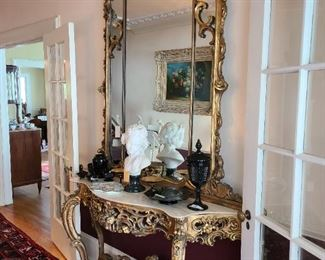 "1.) Grand Scale Over Mirror and console table in the Rococo Style. Mirror: 71""h. x 61""w. Table: 71""w x 18""d x 35"" h. circa 1900."