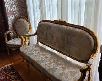 9.) Three part gilt parlor set; two arm chairs and one high back sofa.  Circa 1920, France.
