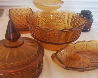 Amber Glass Candy Dishes