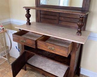 Vintage Wooden Marble Cabinet