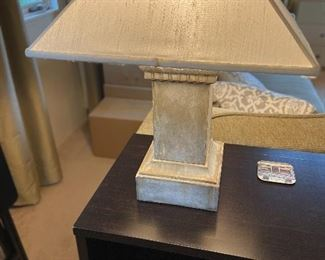 Stone based table lamp 24 inches high - shade as found.  $90