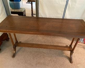Antique wooden console or sofa table. 56 inches wide by 19 inches deep by 29 1/2 inches high.  $280