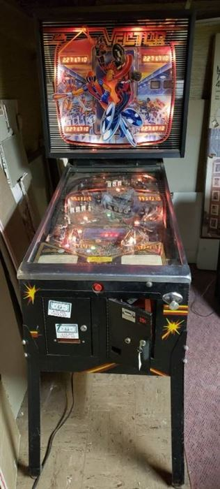 Vintage Bally Coin Operated Pinball Machine: VECTOR ~ Powers On, will need attention to operate correctly ~ 30 x 52 x 72 in. tall ~ located in BASEMENT ~ bring help to load out