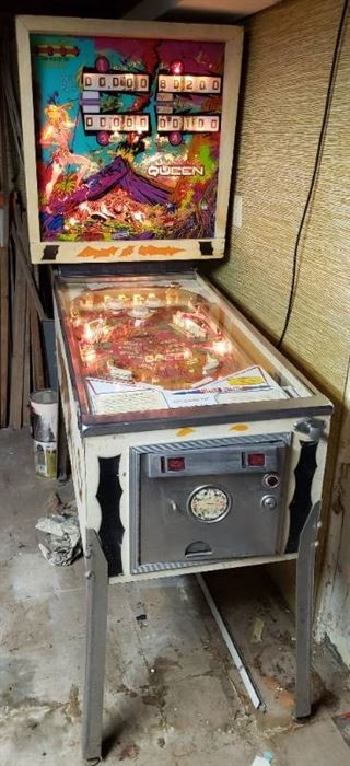 Vintage D. Gottlieb & Co. Coin Operated Pinball Machine: JUNGLE QUEEN ~ Powers On, will need attention to operate correctly (Has KEYS)~ 29 x 53 x 72.5 in. tall ~ located in BASEMENT ~ bring help to load out