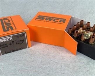Mfg - (2 times the bid) 40 Model - SWCR T.A.C 9mm +P Caliber - ammo Located in Chattanooga, TN Condition - 1 - New This lot contains two 20 round boxes of SWCR T.A.C. self defense 9mm+P Luger ammo. 115 grain, solid copper hollow point bullet.