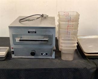 """Located in: Chattanooga, TN MFG Star Model 9C-NFS Ser# NFS01715 Power (V-A-W-P) 120V, 1650W Steamer & Pans Size (WDH) 16-1/2""""Wx17""""Dx13""""H Cord Is Frayed Assorted Food Storage Pans *Sold As Is Where Is*"""