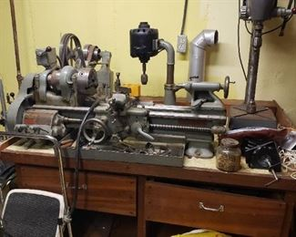 "9"" South Bend workshop lathe, Model A, Catalogue Number 644 Y, bed length 3'.  Table comes with lathe"
