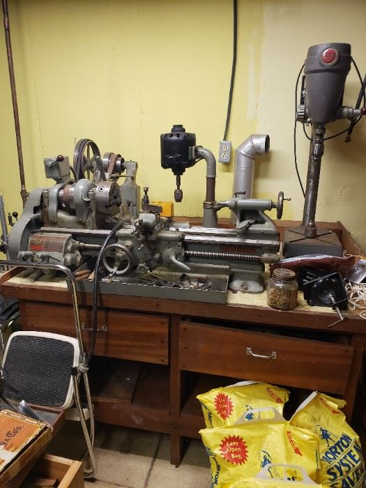 """9"""" South Bend workshop lathe, Model A, Catalogue Number 644 Y, bed length 3'.  Table comes with lathe"""