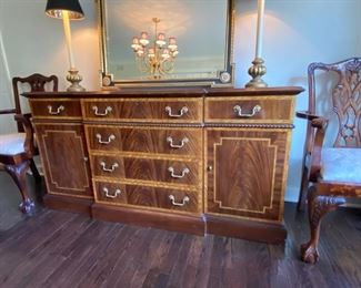"""Lot #3   $750.00  Councill inlaid mahogany sideboard     34""""h x 66""""w x 21""""d         (purchased for 3900.00)"""