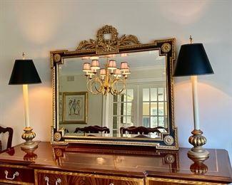 """Lot #4    $550.00  Gorgeous gilt & ebony finish mirror                                         37 1/2""""x  41""""w"""