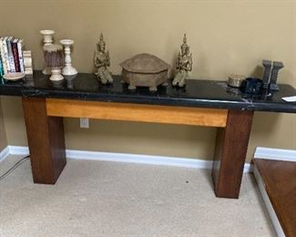 SOLID WOOD AND GRANITE CONSOLE WITH MODERN FLAIR! BRING MUSCLE!