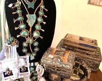 Vintage Sterling turquoise squash blossom necklace, Navajo signed sterling.