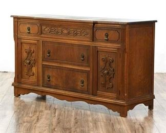 Antique Angelus La Furniture 3-Drawer Buffet With 2 Cabinets