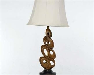 Vintage Mango Wood Carved Spiral Pattern Lamp With Shade