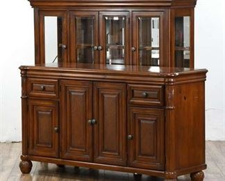 Traditional Style Xl Buffet With Matching Hutch W/ Wine Storage & Lighting