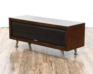 Midcentury Inspired Woodwaves Woodgrain Finish Tambour Door Tv Stand