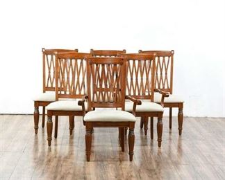 6 Modern Woodgrain Dining Chairs W/ Upholstered Seats