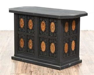 Unusual Pakitan Black Plant Stand/Hollow Hide Table With Brass Inlay