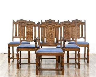 6 Antique Angelus La Matching Dining Chairs, Seat Cushions Replaced & Braces Added