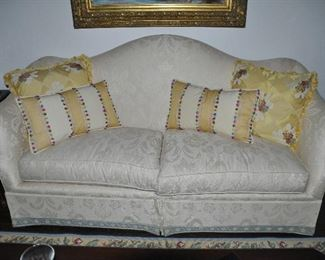 """Baker 2-cushion camel back cream sofa with gorgeous trim detail.  W80""""x H38x D37"""". Matching drapery is also available!"""