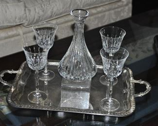 """Lovely St. Louis (France) cut crystal Decanter with stopper shown with Mikasa wine glasses (2 sets of 6 available) on a silver plated tray with handles, 22""""x13"""""""