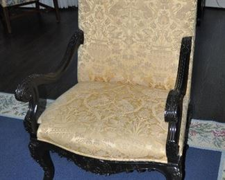 """Nancy Corzine Regency Chair with Scrolled Arms, Carved Legs and Seat.  W29""""x H47""""x D31"""""""