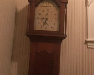 Magnificent Early Pennsylvania  Grandfathers Clock w Brass Finials.