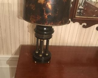 Pair of Neoclassic marble Lamps w Faux Tortoise Shades.