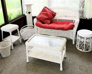 Wicker:  Loveseat, shelf coffee table, round end table, basket, shelf end table & waste basket & wood pedestal