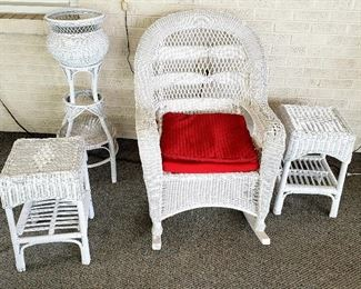 Pair wicker end tables, rocker & plant stand