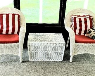 """Pair wicker arm chairs & wicker """"trunk"""" with lid"""