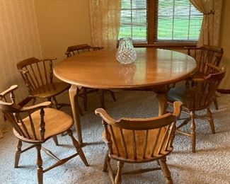 Mint Vintage Conant-Ball Solid Maple Round Dining Table & Six Captains Chairs