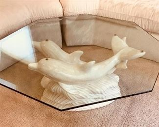 Dolphin Glass top Coffee Table