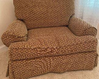 Beige/Gold/Cinnamon Printed Club Arm Chair