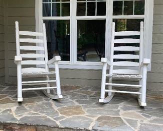 2 White Wooden Rocking Chairs