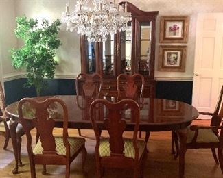American Drew Dining Table with 4 Side and 2 Arm Chairs & Lighted China Cabinet