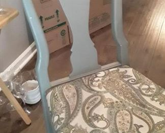 Six painted Ethan Allen Dining chairs. Two have arms. Vintage style.