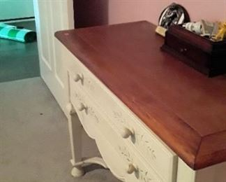 "Stenciled console with two drawers. 41"" W. Nice size. 125"