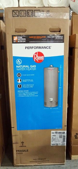 Rheem Performance 50 Gal. Tall 6 Year 38,000 BTU Natural Gas Tank Water Heater Model XG50T06EC38U1, New