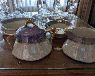 Bavarian sugar creamer bowls